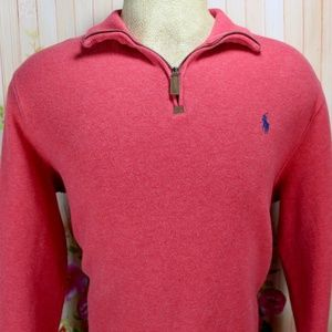 Polo Ralph Lauren Red 1/4 Zip Pullover Ribbed Knit
